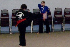 (That's me in the blue gi practicing kata)